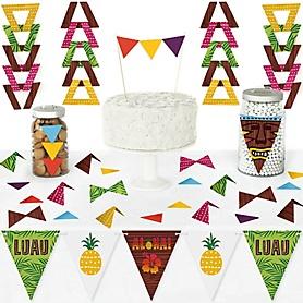Tiki Luau - DIY  Pennant Banner Decorations - Tropical Hawaiian Summer Party Triangle Kit - 99 Pieces