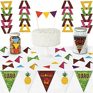 Tiki Luau - DIY  Pennant Banner Decorations - Tropical Hawaiian Summer Party Triangle Kit - 99 Pieces