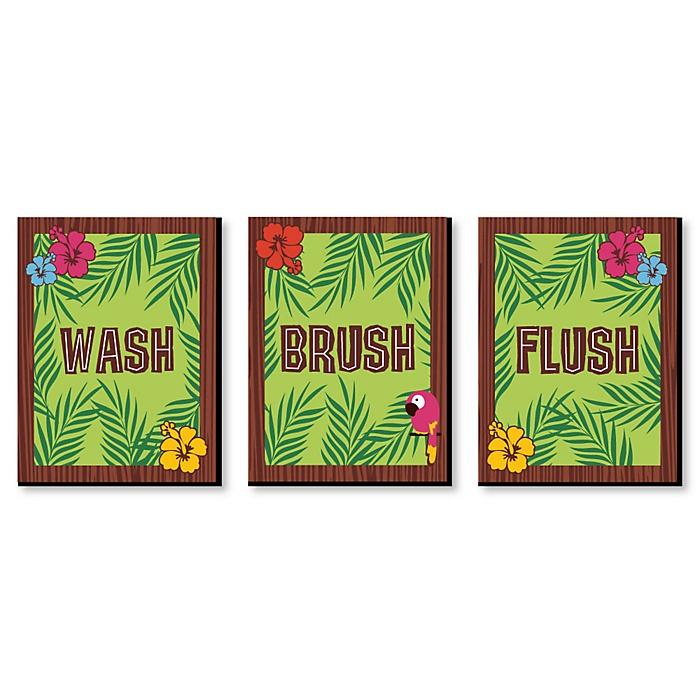 Tiki Luau - Kids Bathroom Rules Wall Art - 7.5 x 10 inches - Set of 3 Signs - Wash, Brush, Flush
