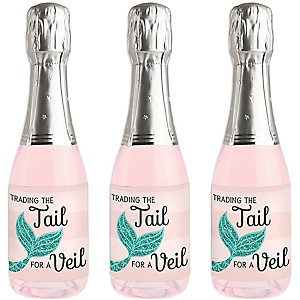 Trading The Tail For A Veil - Mini Wine and Champagne Bottle Label Stickers - Mermaid Bachelorette or Bridal Shower Favor Gift - For Women and Men - Set of 16
