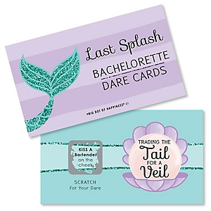 Trading The Tail For A Veil - Mermaid Bachelorette Party or Bridal Shower Scratch Off Dare Cards - 22 ct