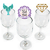 Trading The Tail For A Veil - Shaped Mermaid Bachelorette or Bridal Shower Wine Glass Markers - Set of 24