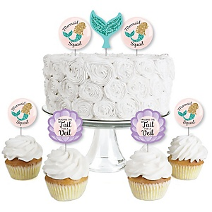 Trading The Tail For A Veil - Dessert Cupcake Toppers - Mermaid Bachelorette or Bridal Shower Clear Treat Picks - Set of 24