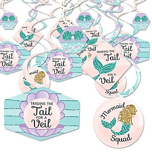 Trading The Tail For A Veil - Mermaid Bachelorette or Bridal Shower Hanging Decor - Party Decoration Swirls - Set of 40