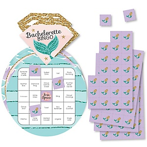 Trading The Tail For A Veil - Bar Bingo Cards and Markers - Mermaid Bachelorette or Bridal Shower Shaped Bingo Game - Set of 18