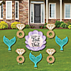 Trading The Tail For A Veil - Yard Sign & Outdoor Lawn Decorations - Mermaid Bachelorette or Bridal Shower Yard Signs - Set of 8