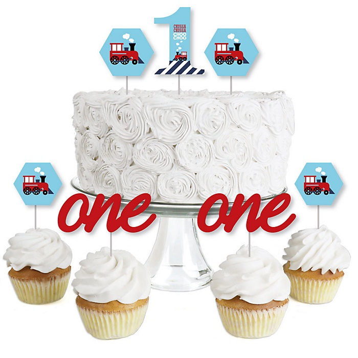 1st Birthday Railroad Party Crossing - Dessert Cupcake Toppers - Steam Train First Birthday Party Clear Treat Picks - Set of 24