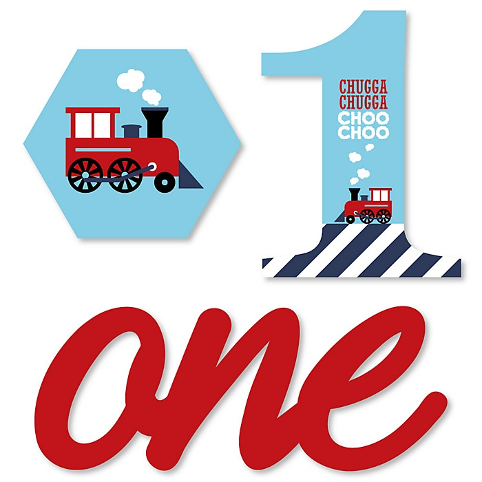 1st Birthday Railroad Party Crossing - DIY Shaped Steam Train First Birthday Party Cut-Outs - 24 ct