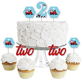 2nd Birthday Railroad Party Crossing - Chugga Chugga Two Two - Dessert Cupcake Toppers - Steam Train Second Birthday Party Clear Treat Picks - Set of 24