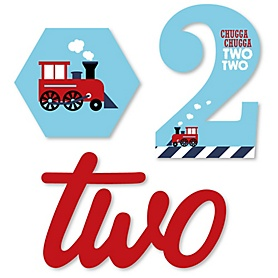 2nd Birthday Railroad Party Crossing - Chugga Chugga Two Two - DIY Shaped Steam Train Second Birthday Party Cut-Outs - 24 ct