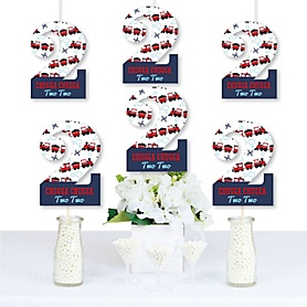 2nd Birthday Railroad Party Crossing - Chugga Chugga Two Two - Two Shaped Decorations DIY Steam Train Second Birthday Party Essentials - Set of 20