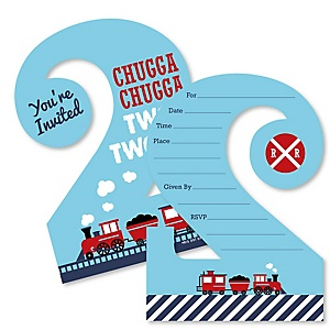 2nd Birthday Railroad Party Crossing - Chugga Chugga Two Two - Shaped Fill-In Invitations - Steam Train Second Birthday Party Invitation Cards with Envelopes - Set of 12