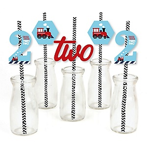 2nd Birthday Railroad Party Crossing - Chugga Chugga Two Two - Paper Straw Decor - Steam Train Second Birthday Party Striped Decorative Straws - Set of 24