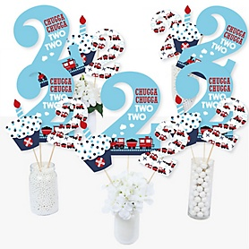 2nd Birthday Railroad Party Crossing - Chugga Chugga Two Two - Steam Train Second Birthday Party Centerpiece Sticks - Table Toppers - Set of 15