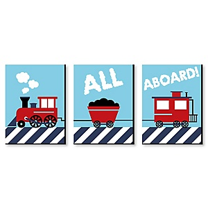"Railroad Crossing - Steam Train Baby Boy Nursery Wall Art & Kids Room Décor - 7.5"" x 10"" - Set of 3 Prints"