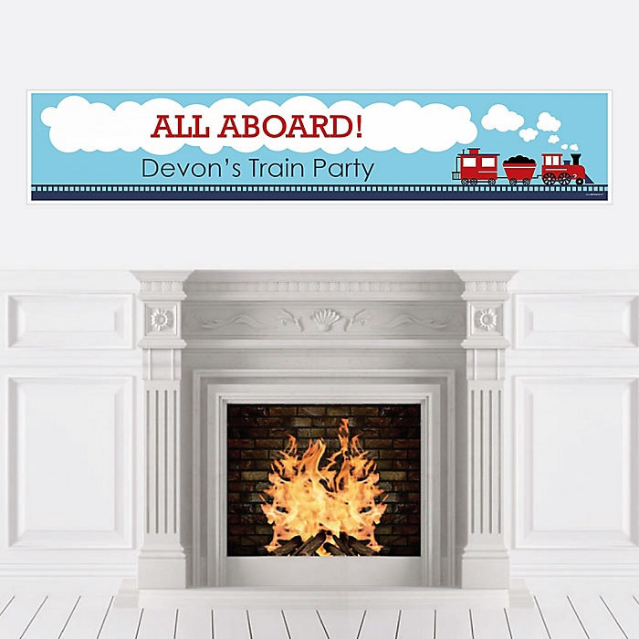 Railroad Party Crossing - Personalized Steam Train Birthday Party or Baby Shower Banner
