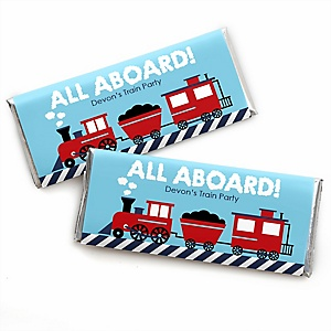 Railroad Party Crossing - Personalized Candy Bar Wrapper Steam Train Birthday Party or Baby Shower Favors - Set of 24