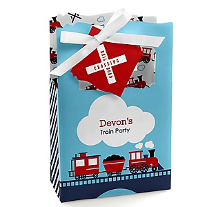 Railroad Party Crossing - Personalized Steam Train Birthday Party or Baby Shower Favor Boxes - Set of 12