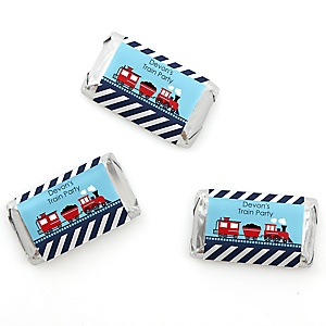 Train - Personalized Baby Shower Mini Candy Bar Wrapper Favors - 20 ct