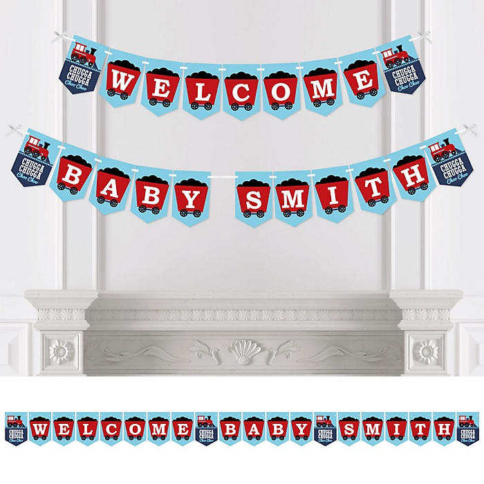 Railroad Party Crossing - Personalized Steam Train Baby Shower Bunting Banner & Decorations