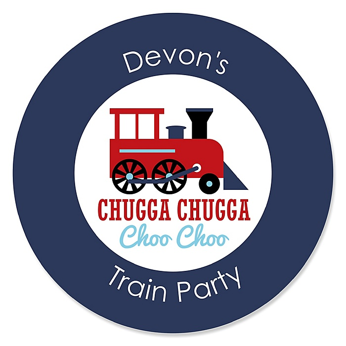 Railroad Party Crossing - Personalized Steam Train Birthday Party or Baby Shower Sticker Labels - 24 ct