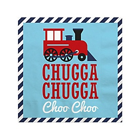 Railroad Party Crossing - Steam Train Birthday Party or Baby Shower Cocktail Beverage Napkins (16 Count)