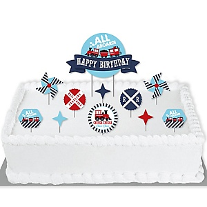 Railroad Party Crossing - Steam Train Birthday Party Cake Decorating Kit - Happy Birthday Cake Topper Set - 11 Pieces