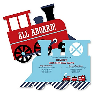 Railroad Party Crossing - Shaped Steam Train Birthday Party Invitations - Set of 12