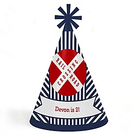 Railroad Party Crossing - Personalized Cone Happy Birthday Party Hats for Kids and Adults - Set of 8 (Standard Size)