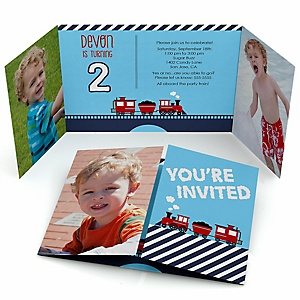 Railroad Party Crossing - Personalized Birthday Party Photo Invitations - Set of 12