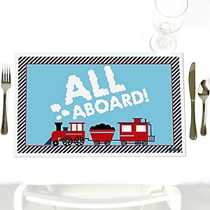 Railroad Party Crossing - Party Table Decorations - Steam Train Birthday Party or Baby Shower Placemats - Set of 12