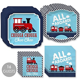 Railroad Party Crossing - Steam Train Birthday Party or Baby Shower Tableware Plates and Napkins - Bundle for 16