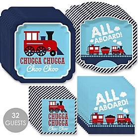 Railroad Party Crossing - Steam Train Birthday Party or Baby Shower Tableware Plates and Napkins - Bundle for 32