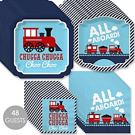 Railroad Party Crossing - Steam Train Birthday Party or Baby Shower Tableware Plates and Napkins - Bundle for 48