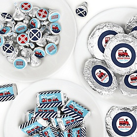 Railroad Party Crossing - Mini Candy Bar Wrappers, Round Candy Stickers and Circle Stickers - Steam Train Birthday Party or Baby Shower Candy Favor Sticker Kit - 304 Pieces