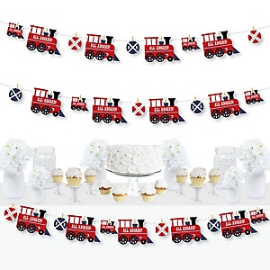 Railroad Party Crossing - Steam Train Birthday Party or Baby Shower DIY Decorations - Clothespin Garland Banner - 44 Pieces