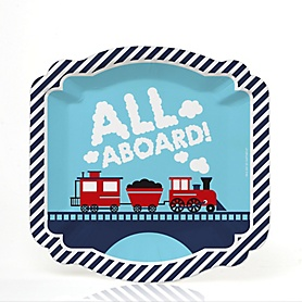 Railroad Party Crossing - Steam Train Birthday Party or Baby Shower Dessert Plates (16 Count)