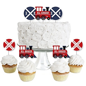 Railroad Party Crossing - Dessert Cupcake Toppers - Steam Train Birthday Party or Baby Shower Clear Treat Picks - Set of 24