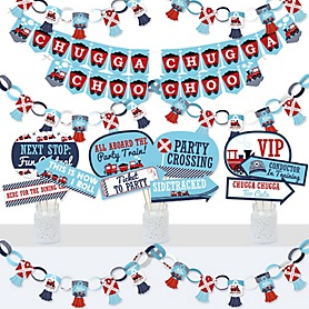 Railroad Party Crossing - Banner and Photo Booth Decorations - Steam Train Birthday Party or Baby Shower Supplies Kit - Doterrific Bundle