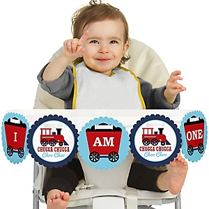 Railroad Party Crossing 1st Birthday - I am One - First Birthday Steam Train High Chair Banner