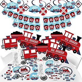 Railroad Party Crossing - Steam Train Birthday Party or Baby Shower Supplies - Banner Decoration Kit - Fundle Bundle