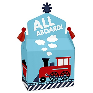 Railroad Party Crossing - Treat Box Party Favors - Steam Train Birthday Party or Baby Shower Goodie Gable Boxes - Set of 12