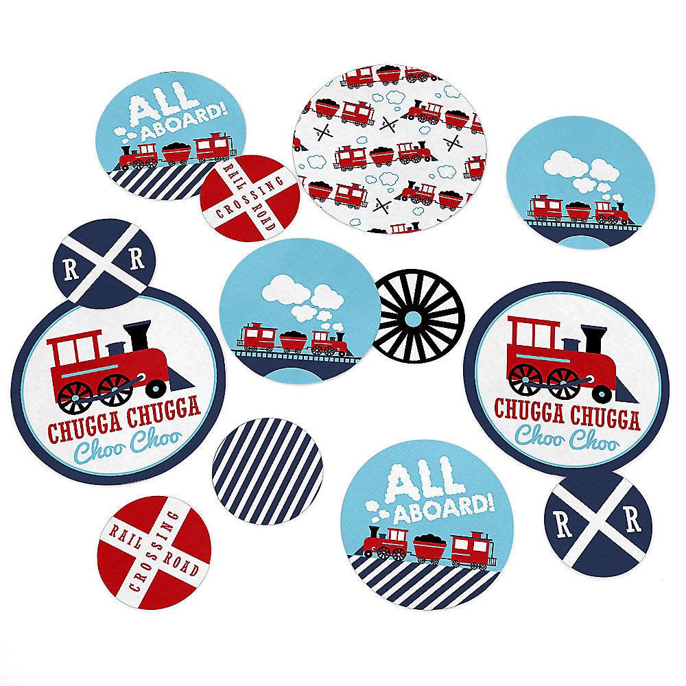 Railroad Party Crossing - Steam Train Birthday Party or Baby Shower Giant  Circle Confetti - Party Decorations - Large Confetti 27 Count