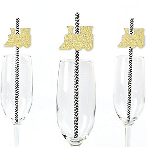 Gold Glitter Train Party Straws - No-Mess Real Gold Glitter Cut-Outs and Decorative Railroad Birthday Party or Baby Shower Paper Straws - Set of 24