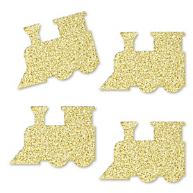 Gold Glitter Train - No-Mess Real Gold Glitter Cut-Outs - Railroad Birthday Party or Baby Shower Confetti - Set of 24
