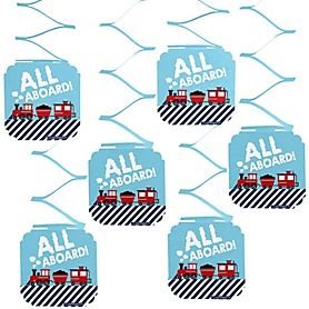 Railroad Party Crossing - Steam Train Birthday Party or Baby Shower Hanging Decorations - 6 ct