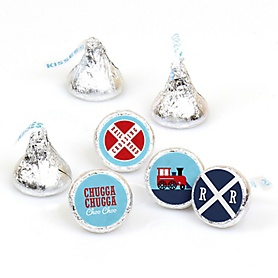 Railroad Party Crossing - Steam Train Birthday Party or Baby Shower Round Candy Sticker Favors - Labels Fit Hershey's Kisses - 108 ct