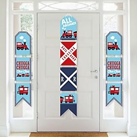 Railroad Party Crossing - Hanging Vertical Paper Door Banners - Steam Train Birthday Party or Baby Shower Wall Decoration Kit - Indoor Door Decor