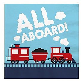 Railroad Party Crossing - Steam Train Birthday Party or Baby Shower Luncheon Napkins (16 Count)