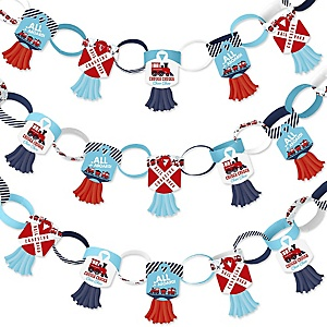 Railroad Party Crossing - 90 Chain Links and 30 Paper Tassels Decoration Kit - Steam Train Birthday Party or Baby Shower Paper Chains Garland - 21 feet